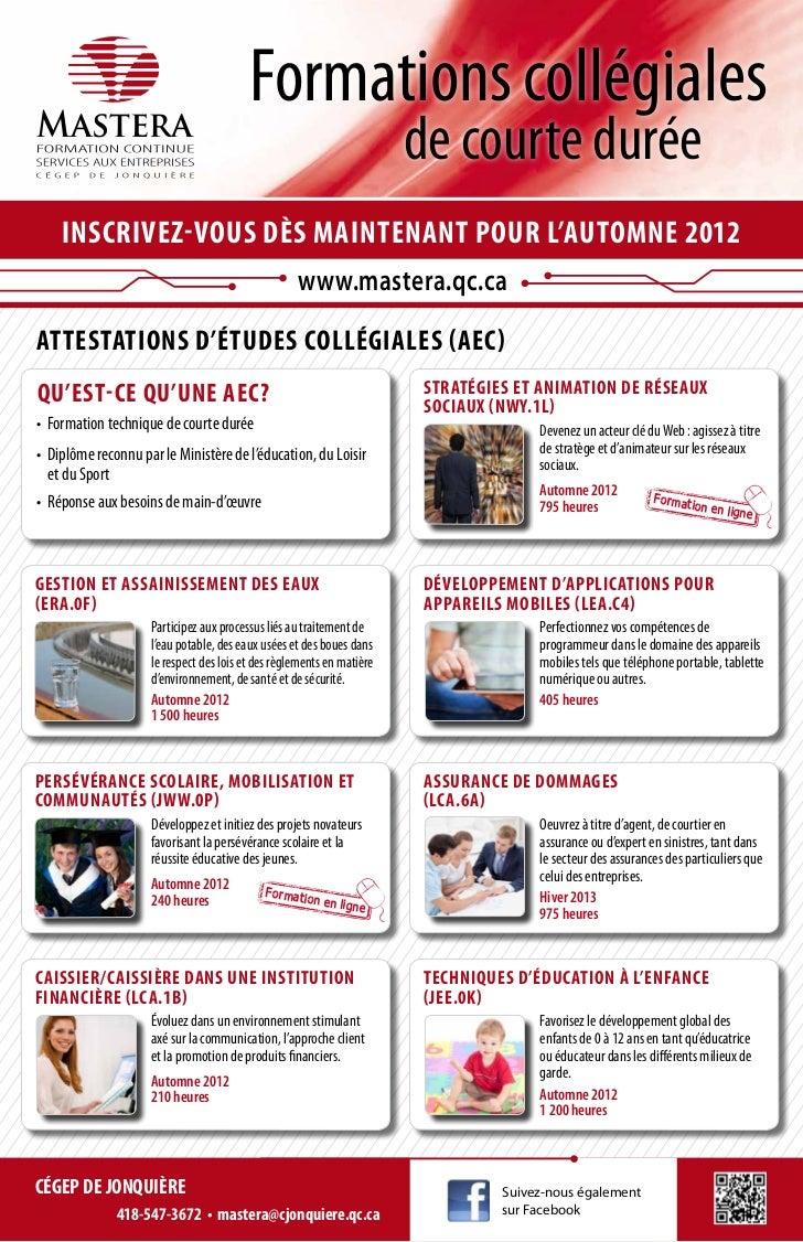 Formations offertes chez Mastera pour 2012-2013