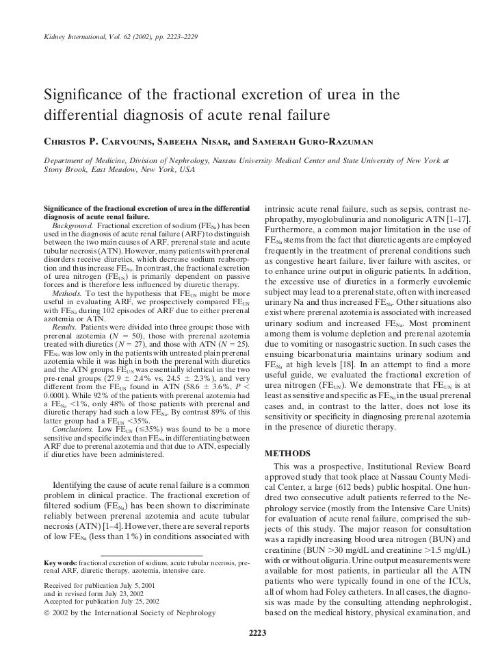 Kidney International, Vol. 62 (2002), pp. 2223–2229Significance of the fractional excretion of urea in thedifferential diag...