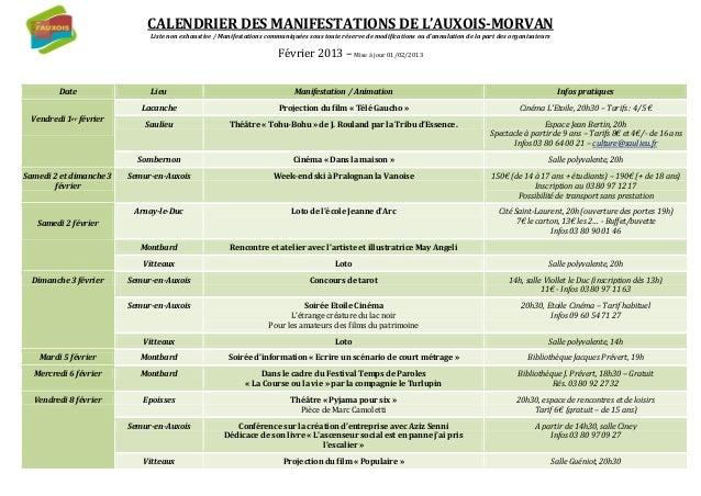 CALENDRIER DES MANIFESTATIONS DE L'AUXOIS-MORVAN                              Liste non exhaustive / Manifestations commun...