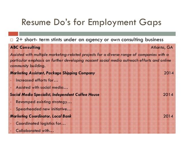 explain gaps in resume