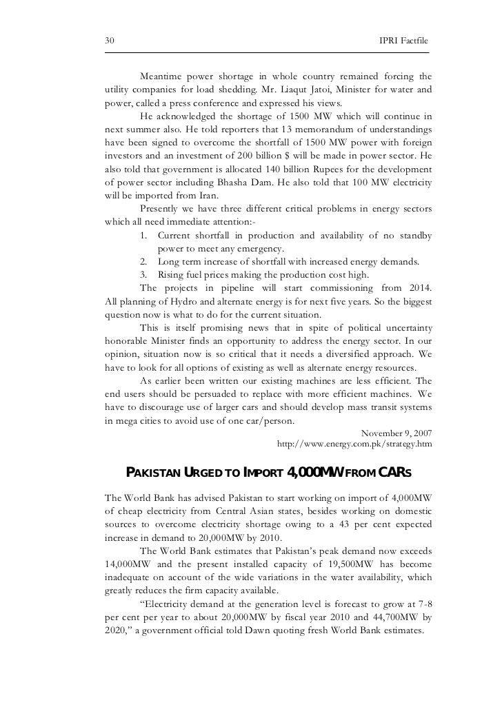 Energy Crises in Pakistan- CSS Essay