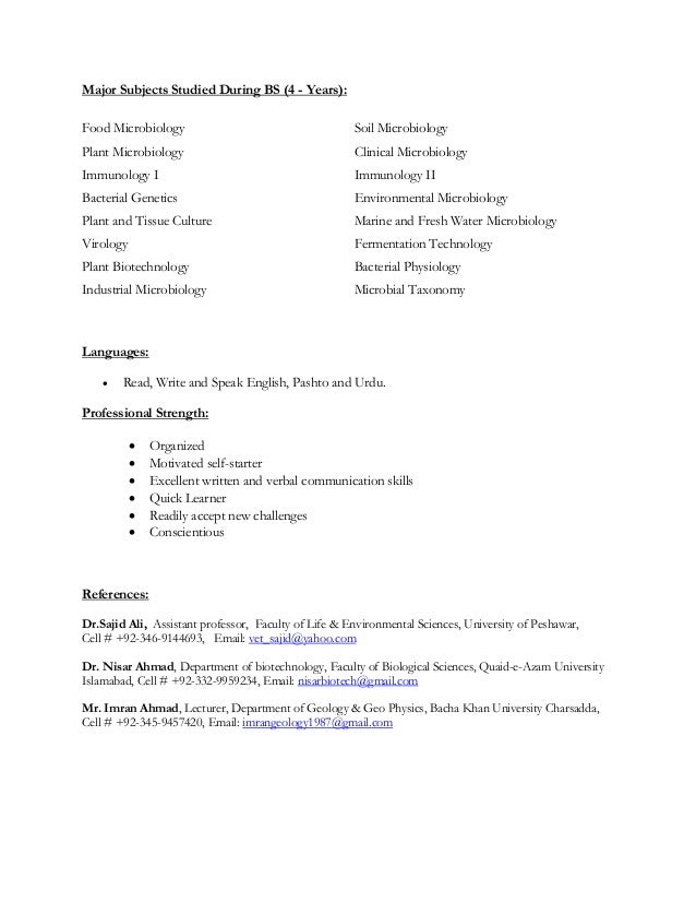 Sample cover letter microbiology
