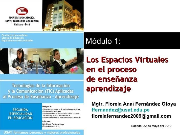 Mgtr. Fiorela Anaí Fernández Otoya [email_address] [email_address] Módulo 1: Los Espacios Virtuales  en el proceso de ense...