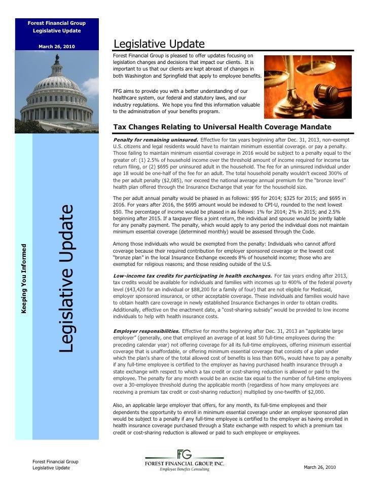 Forest Financial Group                         Legislative Update                              March 26, 2010             ...