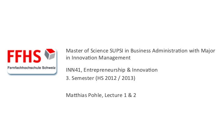 Master of Science SUPSI in Business Administra6on with Major in Innova6on Management  INN...