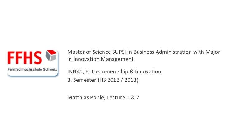 INN41 Entrepreneurship & Innovation Vorlesung 1 und 2