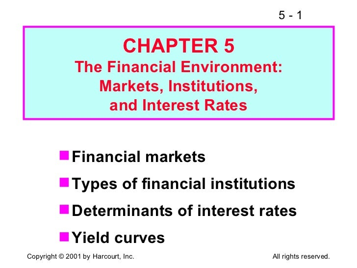 CHAPTER 5 The Financial Environment: Markets, Institutions, and Interest Rates <ul><li>Financial markets </li></ul><ul><li...