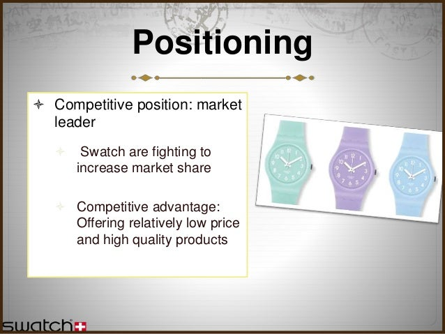 swatch strategic analysis Tissot brand covers the brand analysis in terms of swot, stp and competition along with the above analysis, segmentation, target group and positioning the tagline.