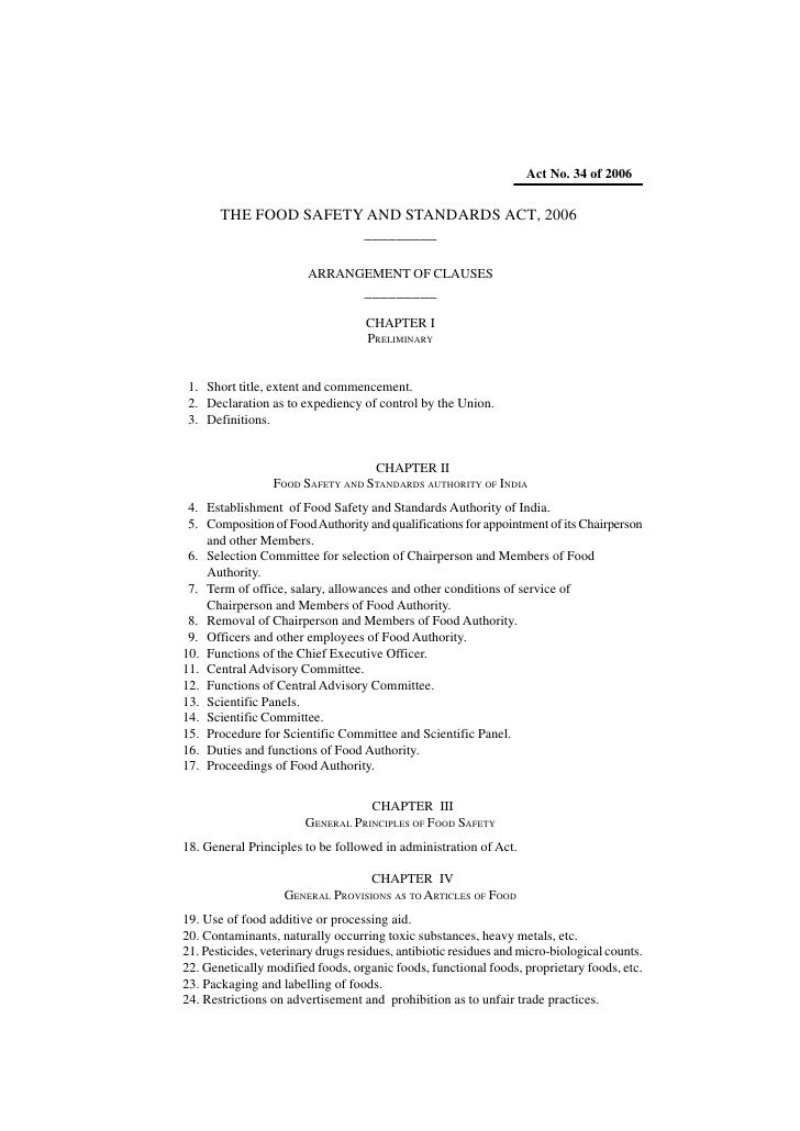 Act No. 34 of 2006          THE FOOD SAFETY AND STANDARDS ACT, 2006                       _________                       ...