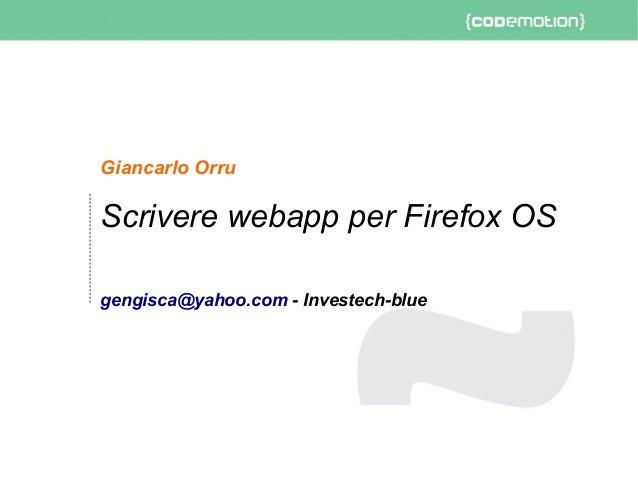 Scrivere Webapp per Firefox OS - Orru