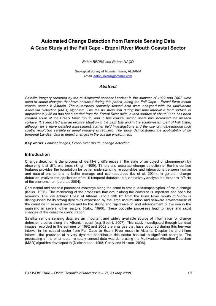 Automated Change Detection from Remote Sensing Data   A Case Study at the Pali Cape - Erzeni River Mouth Coastal Sector   ...