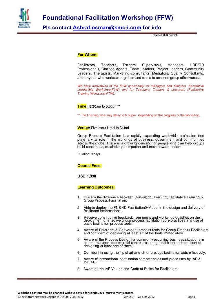 Foundation Facilitation Workshop in Dubai Oct 2-4 ,2012