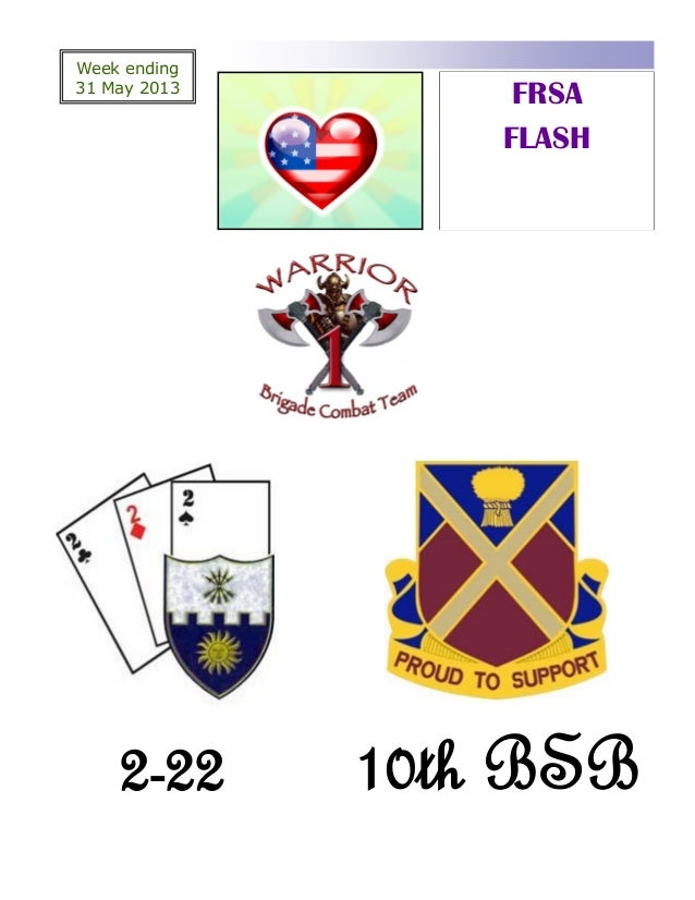 Week ending31 May 2013FRSAFLASH2-22 10th BSB