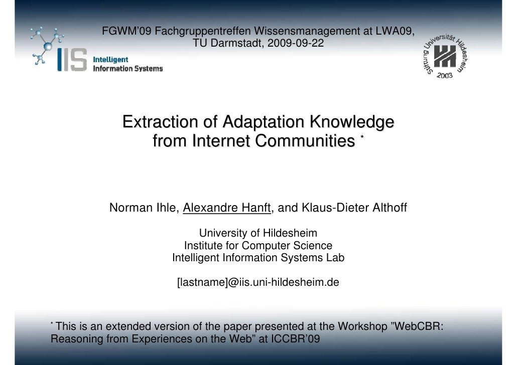 Extraction of Adaptation Knowledge from Internet Communities