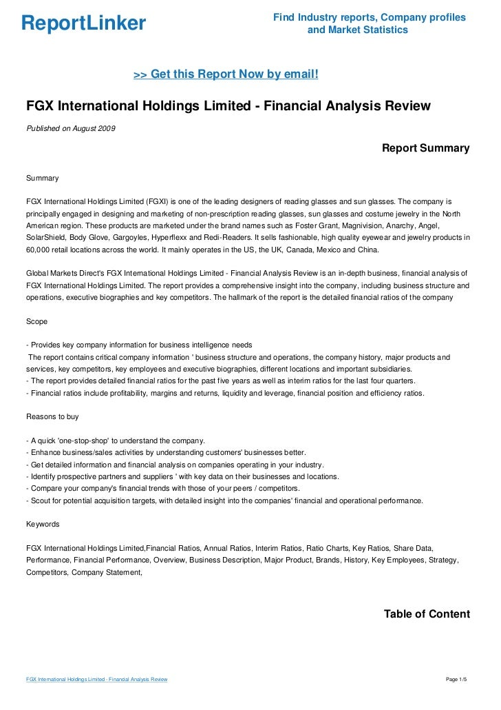 FGX International Holdings Limited - Financial Analysis Review