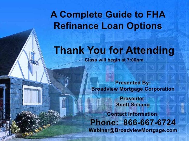 FHA Refinance Loan Programs
