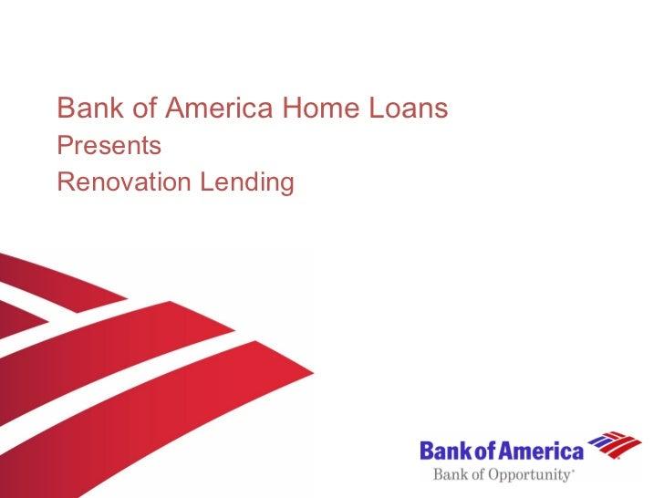Bank of America Home Loans Presents Renovation Lending