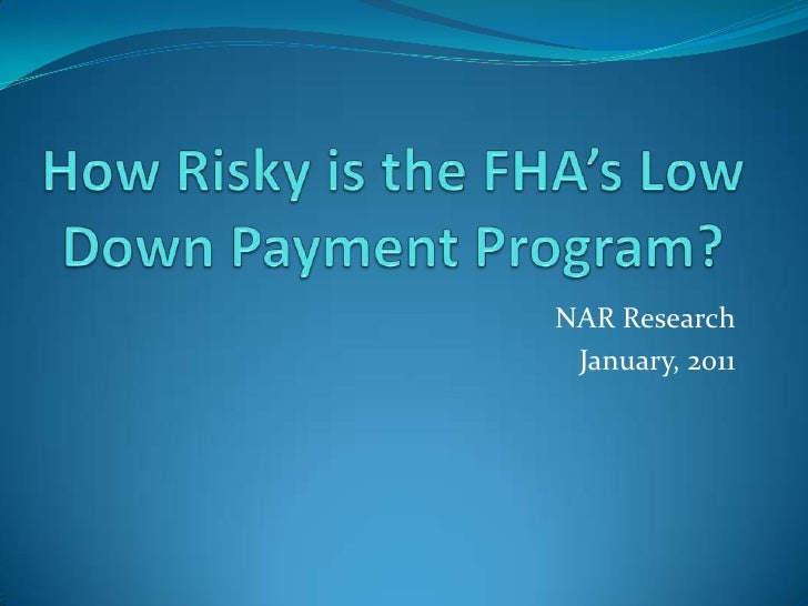 How Risky is the FHA's Low Down Payment Program?<br />NAR Research<br />January, 2011<br />