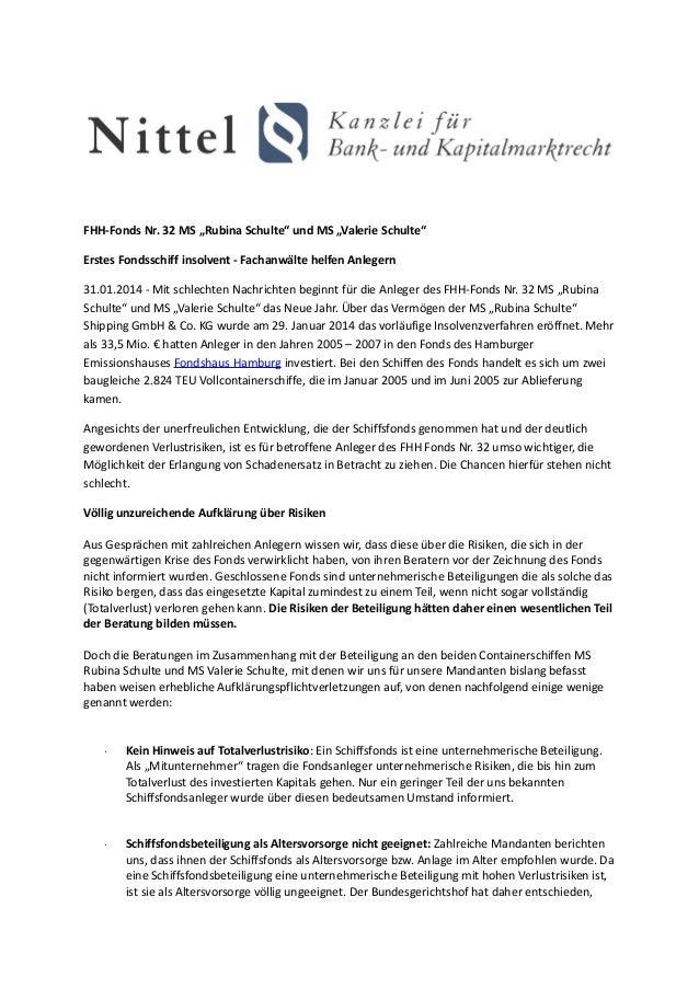 """FHH-Fonds Nr. 32 MS """"Rubina Schulte"""" und MS """"Valerie Schulte"""" Erstes Fondsschiff insolvent - Fachanwälte helfen Anlegern 3..."""
