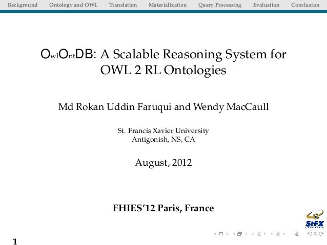 Background    Ontology and OWL   Translation   Materialization   Query Processing   Evaluation   Conclusion             Ow...