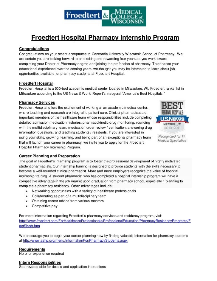 Froedtert Hospital Pharmacy Internship Program<br />Congratulations<br />Congratulations on your recent acceptance to Conc...