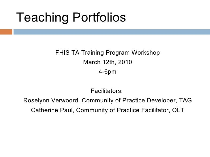 Introduction to Teaching Portfolios
