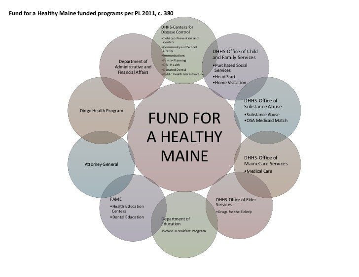 Programs of the Fund for a Healthy Maine, A Diagram, July 2011
