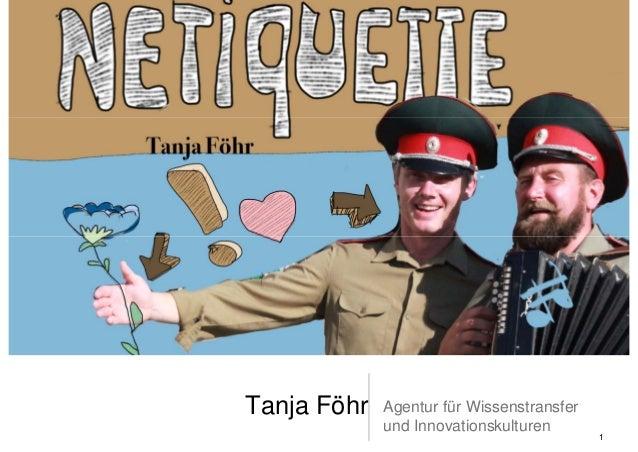 Tanja Föhr   Agentur für Wissenstransfer             und Innovationskulturen                                           1