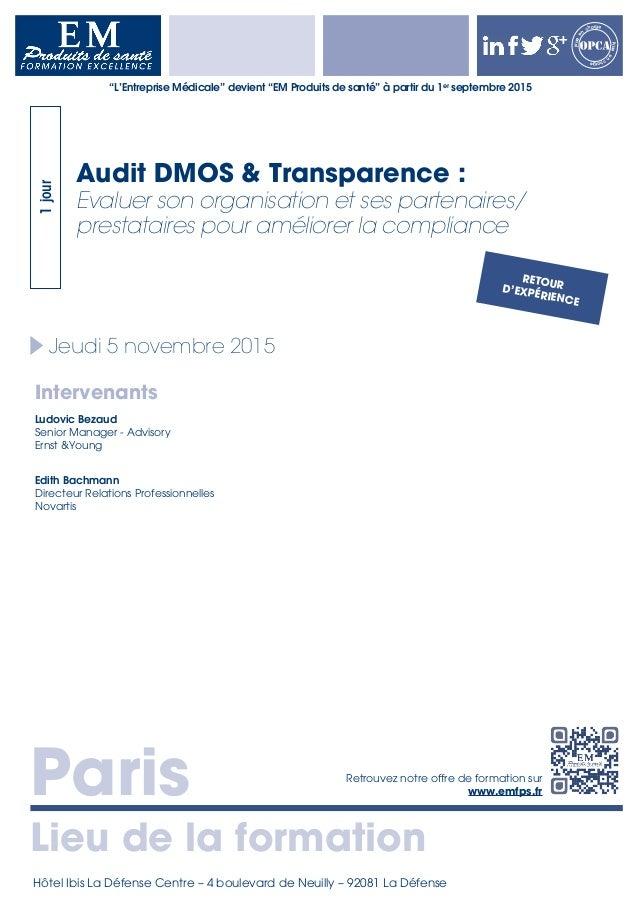 Paris Lieu de la formation Retrouvez notre offre de formation sur www.emfps.fr Prisee n charge Priseen charge Jeudi 5 nove...