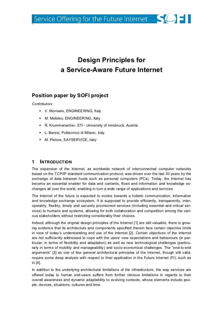 Design Principles for                  a Service-Aware Future InternetPosition paper by SOFI proje...