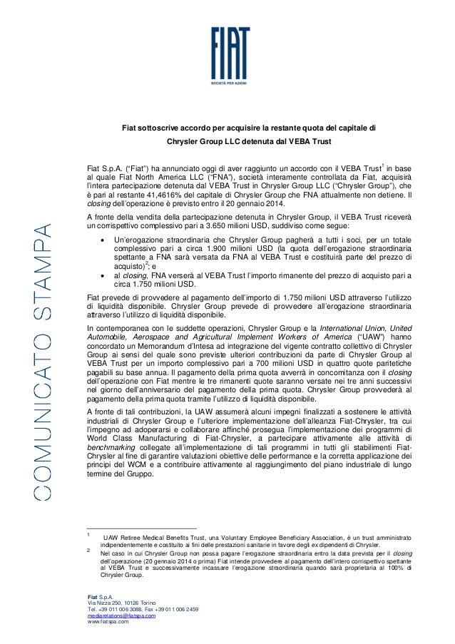 Fiat sottoscrive accordo per acquisire la restante quota del capitale di Chrysler Group LLC detenuta dal VEBA Trust