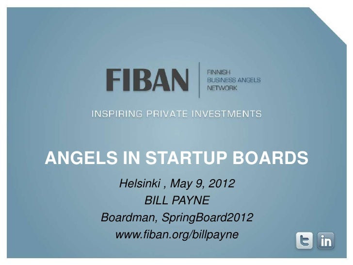 FiBAN - Business Angels in startup boards - By Bill Payne