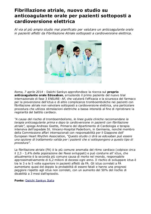 Fibrillazione atriale, nuovo studio su anticoagulante orale per pazienti sottoposti a cardioversione elettrica Al via al p...