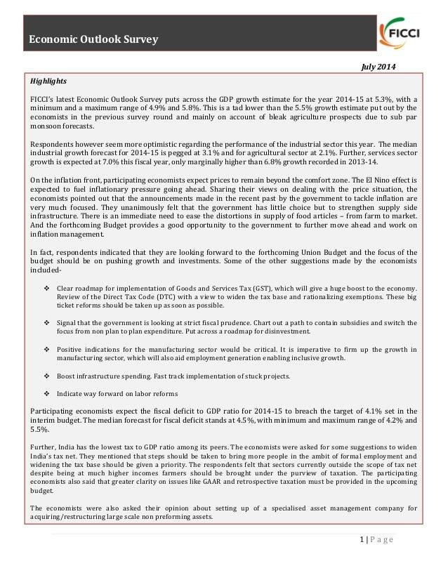 FICCI's Economic Outlook Survey | July 2014