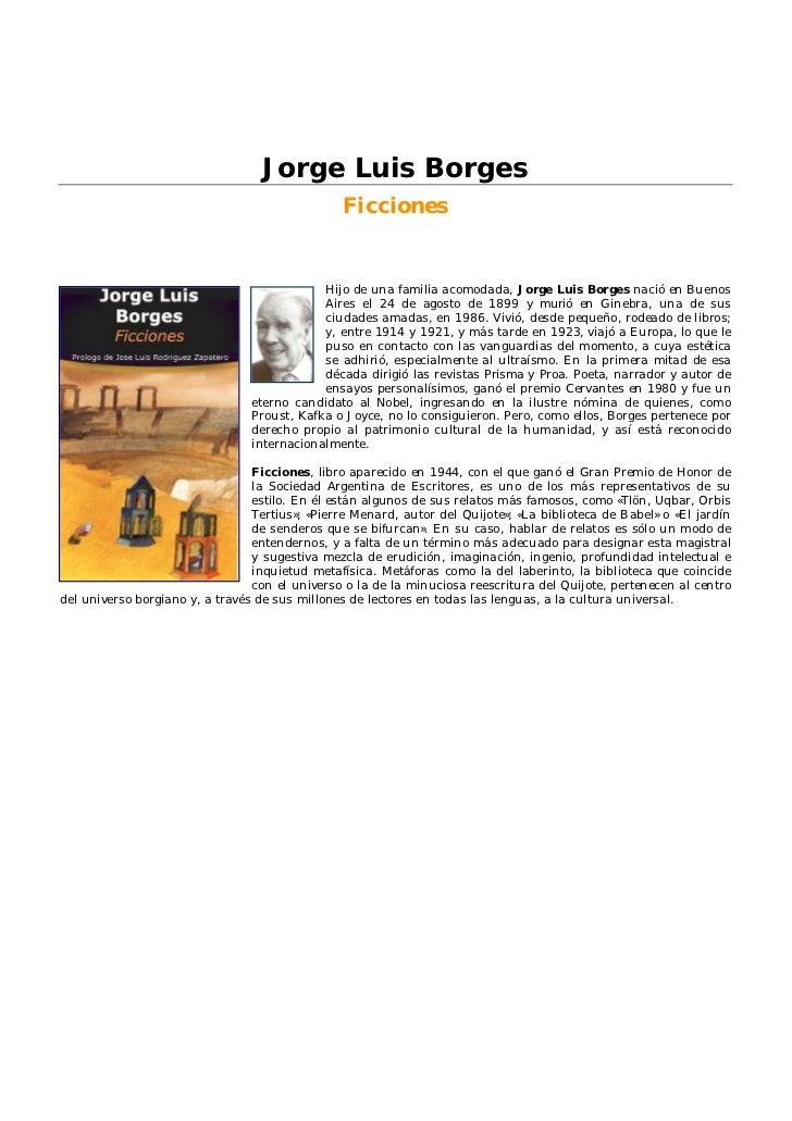 Jorge Luis Borges                                                Ficciones                                             Hij...