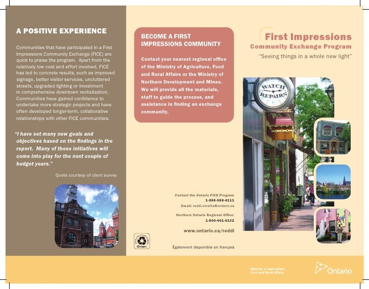 First Impressions Community Exchange brochure