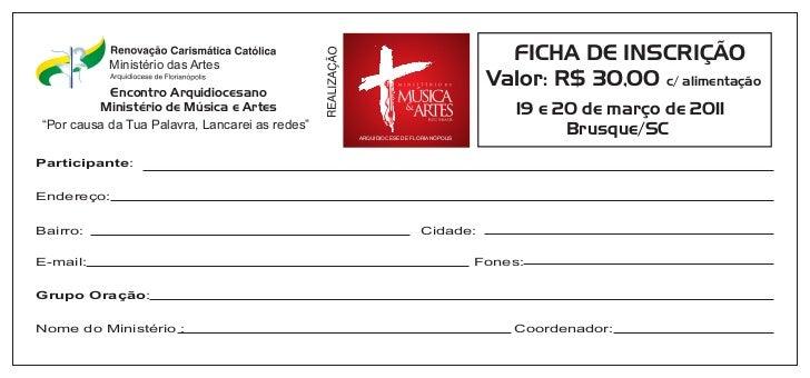 Ministério das Artes                                                                                   FICHA DE INSCRIÇÃO ...