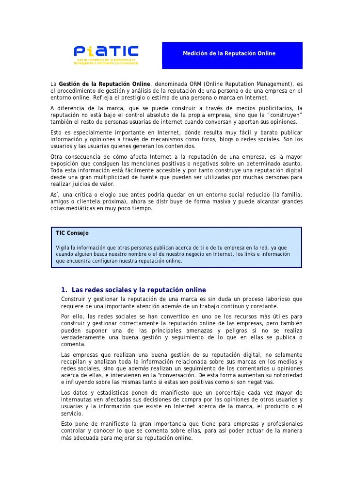 Medición de la Reputación OnlineLa Gestión de la Reputación Online, denominada ORM (Online Reputation Management), esel pr...