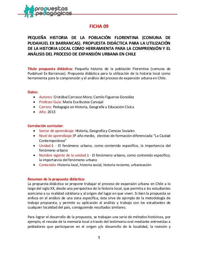 1  FICHA 09  PEQUEÑA HISTORIA DE LA POBLACIÓN FLORENTINA (COMUNA DE PUDAHUEL EX BARRANCAS). PROPUESTA DIDÁCTICA PARA LA UT...
