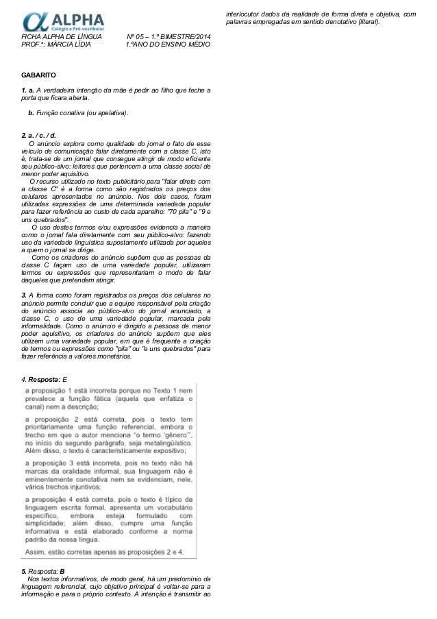 Ficha alpha 5 em língua 1ª série gabarito