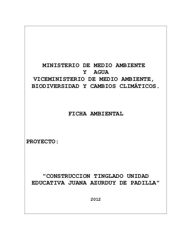 MINISTERIO DE MEDIO AMBIENTE                Y AGUA  VICEMINISTERIO DE MEDIO AMBIENTE, BIODIVERSIDAD Y CAMBIOS CLIMÁTICOS. ...