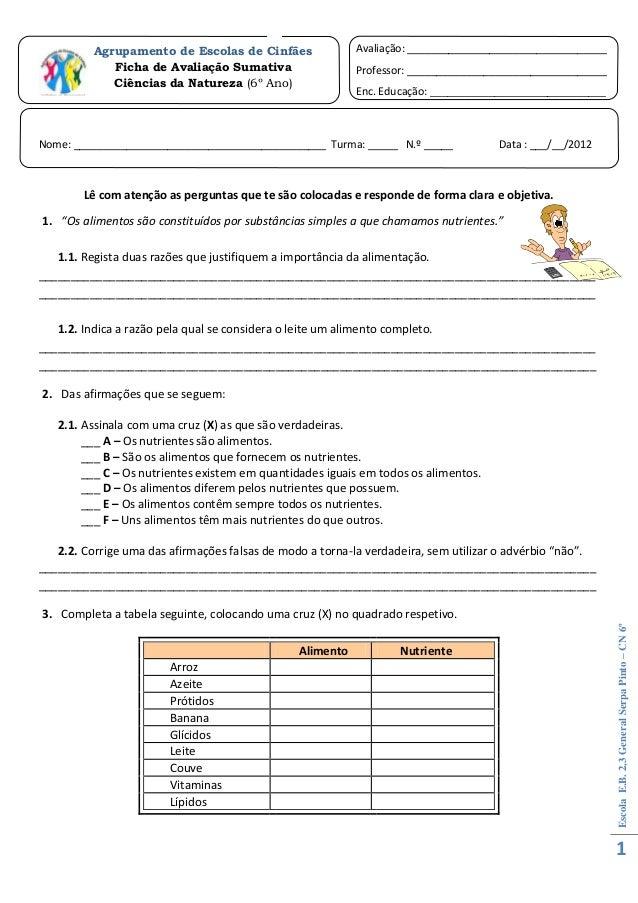 Agrupamento de Escolas de Cinfães                Avaliação: __________________________________             Ficha de Avalia...