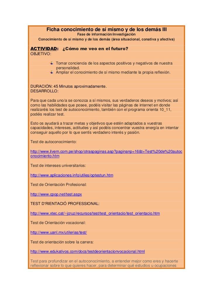 Ficha conocimiento de sí mismo y de los demás III                         Fase de información/investigación    Conocimient...