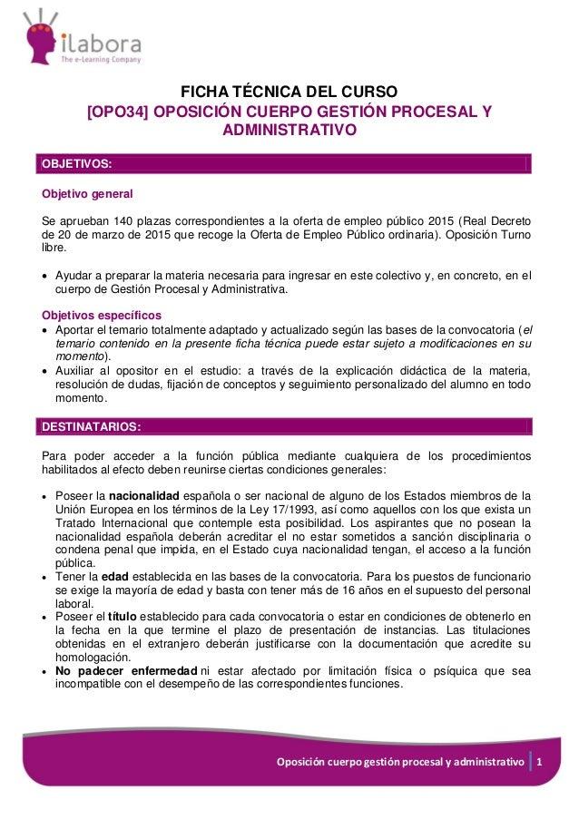 Oposiciones Cuerpo de Gestión Procesal y Administrativa de la Administración de Justicia