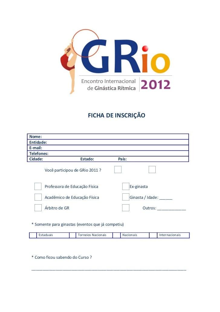 Ficha de inscripcion Rio 2012