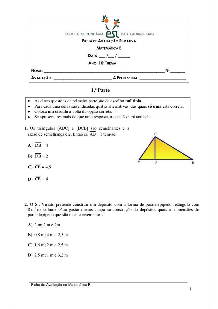 FICHA DE AVALIAÇÃO SUMATIVA                                          MATEMÁTICA B                                   DATA: ...