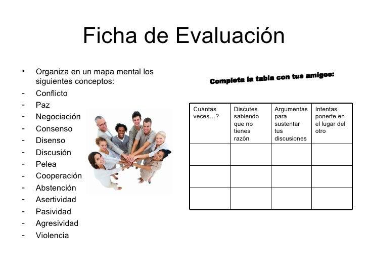 Ficha de Evaluación <ul><li>Organiza en un mapa mental los siguientes conceptos: </li></ul><ul><li>Conflicto </li></ul><ul...