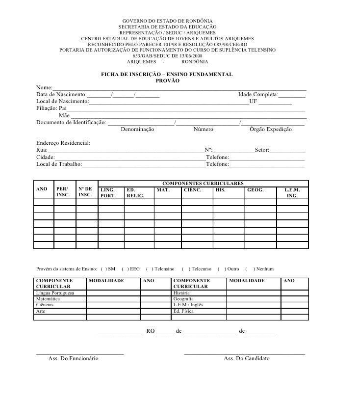Ficha de inscrição   fundamental e médio