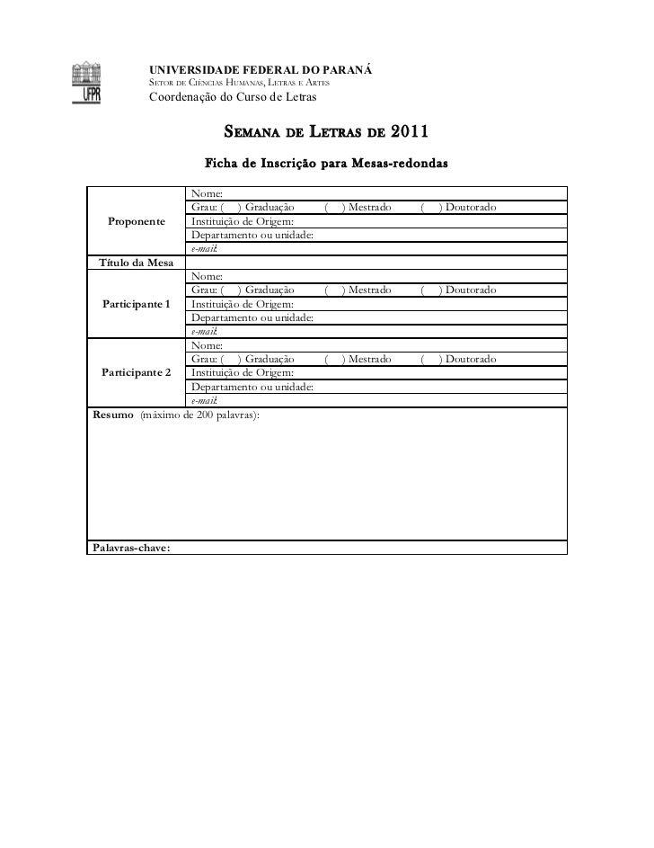 Ficha de inscrição para mesas redondas