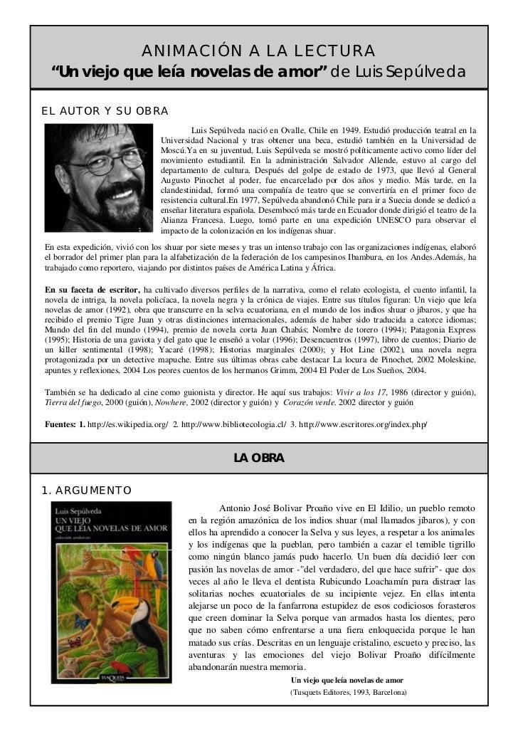 Ficha de lectura Un viejo que leía novelas de amor